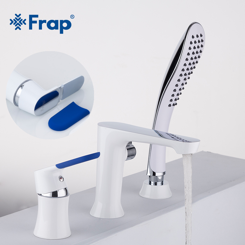 Frap Three-piece Bathtub Faucet Three-hole Separation Split White Spray Painting Hot and Cold Water Mixer with Hand Shower F1134