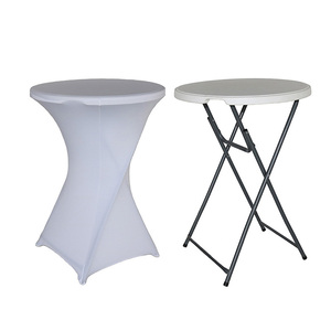 Image 2 - 1pcs Dry Cocktail Spandex Table Covers For Wedding Decor Lycra Bistro Event Party Increase Thickening Tablecloth