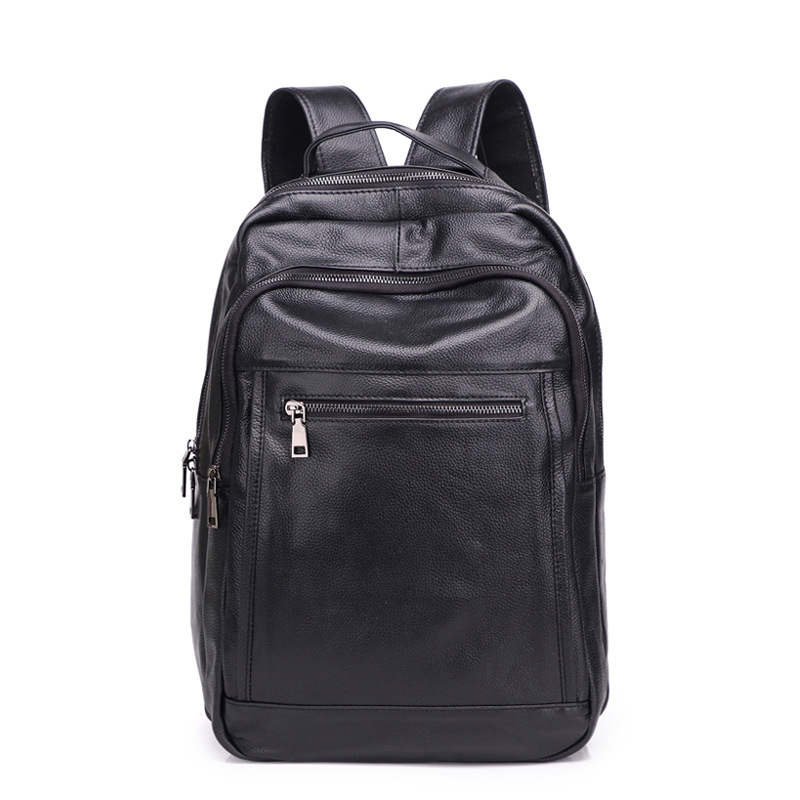 New mens leather large-capacity backpack Korean version of business travel backpack leather computer bagNew mens leather large-capacity backpack Korean version of business travel backpack leather computer bag