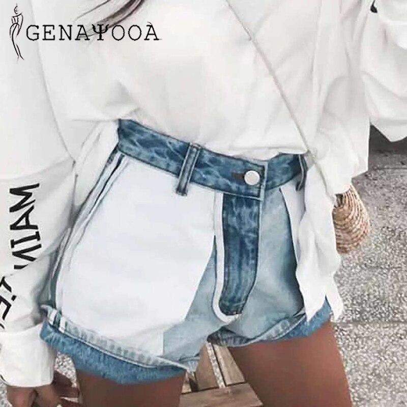 Genayooa Jean   Shorts   Women Summer High Waist Denim   Shorts   Cotton Ladies Vintage Loose Patchwork Streetwear Brand Women   Shorts