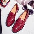 100% Натуральная кожа Женская Обувь Повседневная Дамы Баллок Оксфорды Низкий Каблук Обуви Женщина Туфли-Ретро Обувь Одного Мокасины башмаки