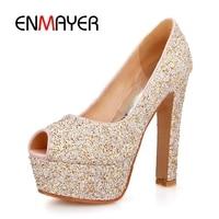 ENMAYER Women super high heels Platform shoes pumps Spring Summer Peep toe Spike heels Glitter Wedding shoes for Female CR296