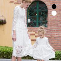 Summer Family Matching Outfits Mother And Daughter European Station Paternity Lace Lace Stitching Hollow Beach Dress