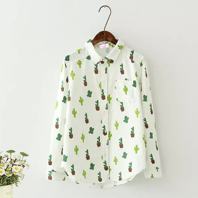2ac5e07a Cactus Printing Girl's Shirts Japan Preppy Style Spring New Turn-down  Collar Long Sleeves Button White Cotton Womens Blouse