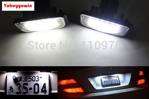 US $24 34 22% OFF|Free Shipping 2Pcs Canbus License Plate LED Light kit No  Error For Mercedes Benz W203 C class C230 C240 C320 C32 55-in Car Headlight