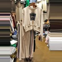 New Spring Korean Style Printed O Neck Long Sleeved Hoodies Elastic Waist Wide Leg Pants Women