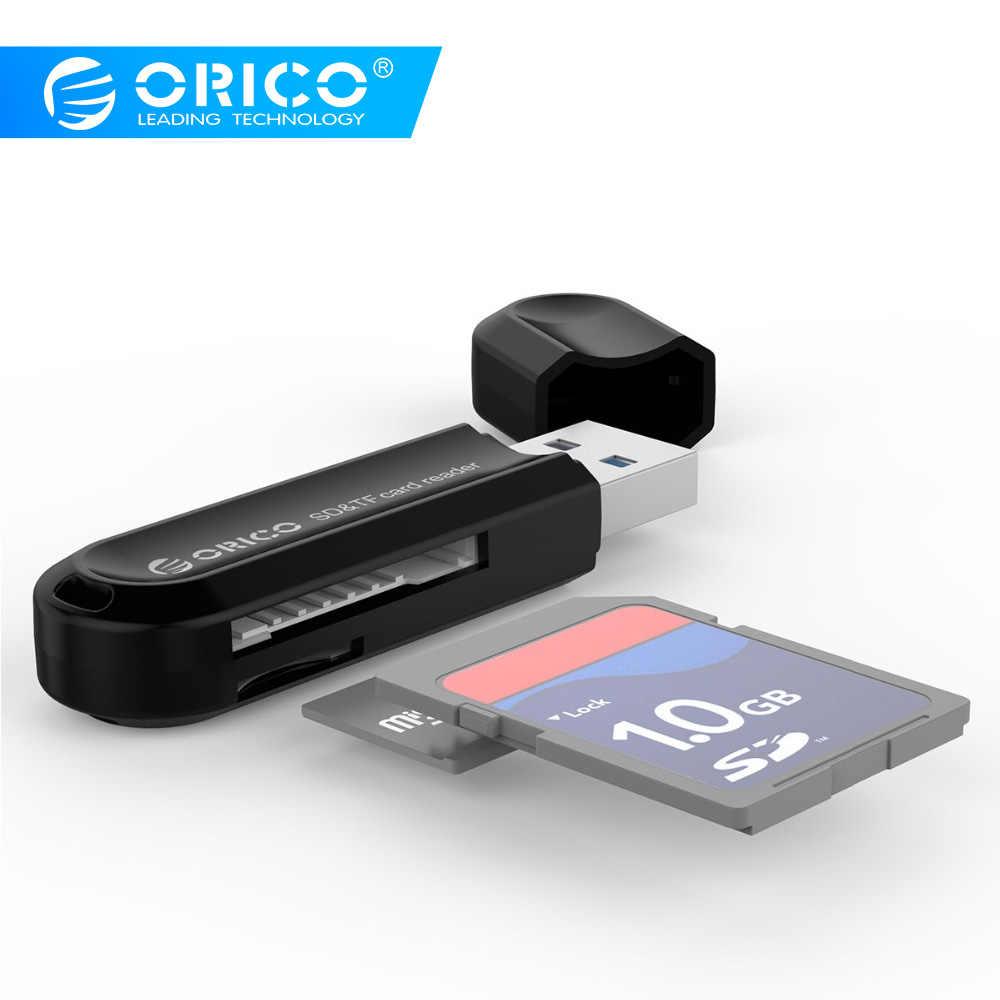ORICO USB 3.0 TF/قارئ البطاقات SD Mini USB3.0 USB C قارئ بطاقات مزدوجة دعم SD/TF مع تصميم متعدد الوظائف-أسود/أبيض