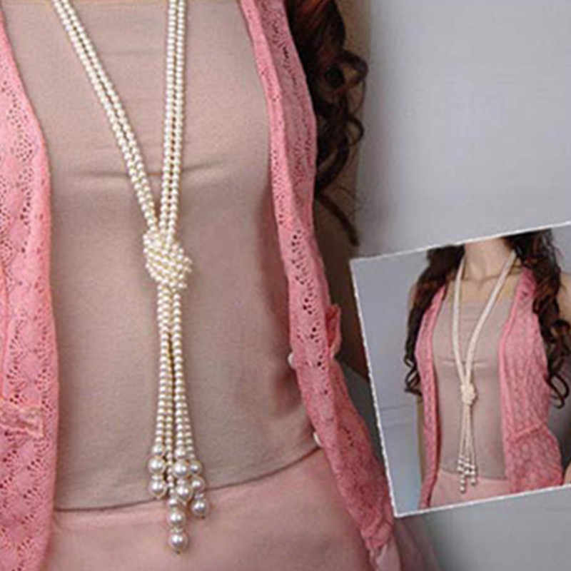 Classic double knot imitation pearl tassel long necklace long knotted tassel necklace female fashion sweater costume jewelry gif