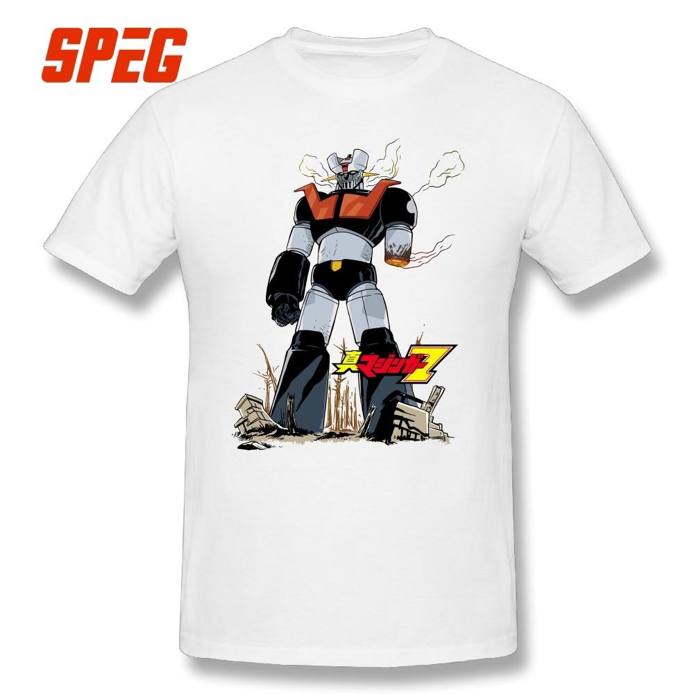 T Shirt Mazinger Z Cartoon Tshirt Anime Robot 100% Cotton Present Birthday T-Shirt Boy Short Sleeve Tee Shirt Men Crew Neck