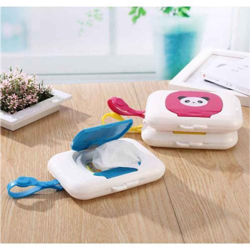 Cartoon Cute Baby Wipes Case Wet Wipe Box Dispenser For Stroller Portable Rope Lid Covered Tissue Boxes