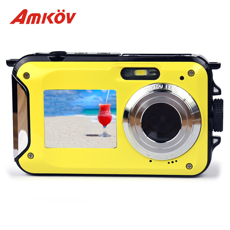 AMKOV W599 Professional Camera 24 MP 2.7inch Front & Rear Dual-screen 11 * 6.5 * 2.5cm Digital Cameras Waterproof Compact Camera micro camera compact telephoto camera bag black olive