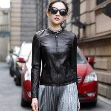 Ptslan Genuine Leather Jacket Women Real Leather Coat Sheepskin Women's Short Motorcycle Biker Jacket Outerwear P3751