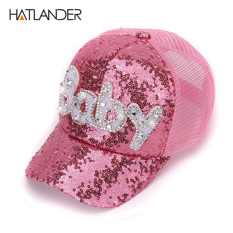 Details about New Real Mesh Cap For Children Gift Baseball Caps Baby  Diamond Sequin Sun Hats d2a3ea956e27