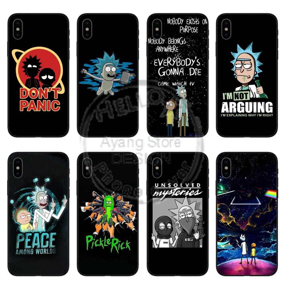 Rick e morty casos preto de alta qualidade macio silicone caso do telefone capa para apple iphone x 10 5 5S se 6 6 splus 7 mais 8 8 plus