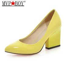 цена MVP BOY High Heels Shoes Women White Wedding Shoes Thick High Heels Fashion Party Pumps Footwear Yellow Red Big Size онлайн в 2017 году