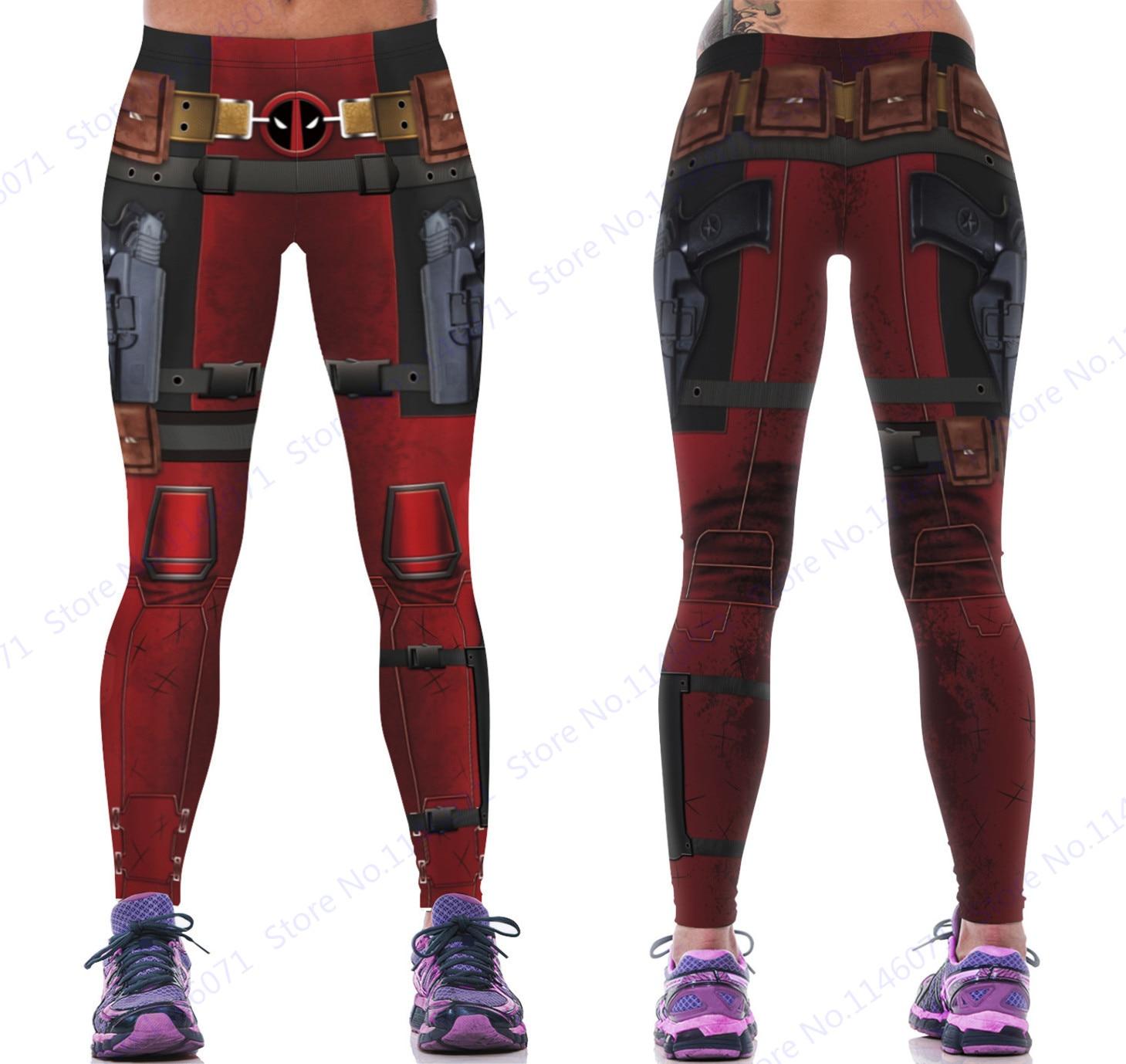 965c4d89a8a33 Deadpool Gym Yoga Pants Leggings Red Sexy Butt Lift Power Flex Pants  Stretchy Slimming Fitness Running Tights High Waist Women's