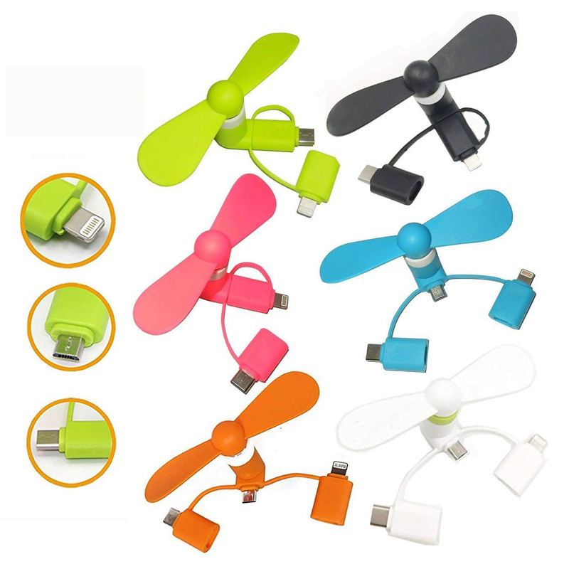 50PCS 3 in 1 Mini Portable Micro USB Type C Fans For Samsung HTC Huawei Universal