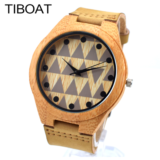 8975c7c75aa TIBOAT Moda Natural De Bambu Criativo De Madeira Relógio de Pulso de Couro  Genuíno Para Mulheres