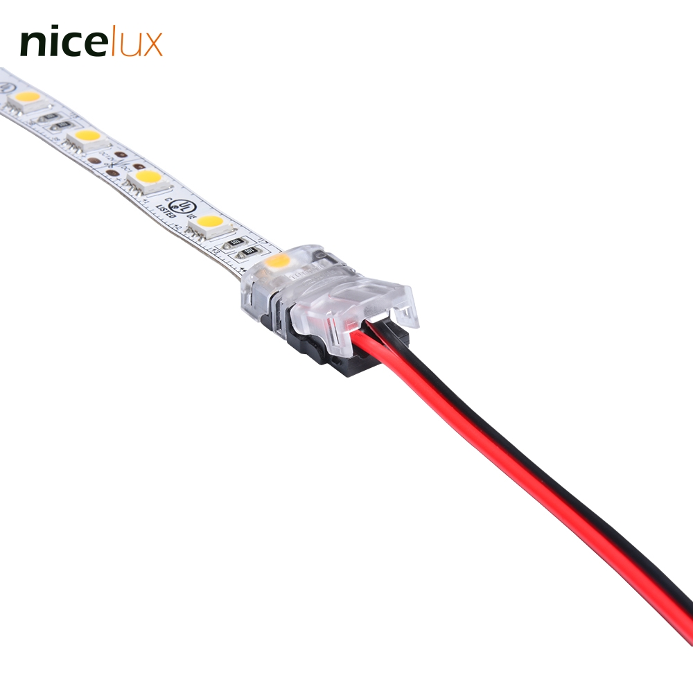 10pcs 2 pin 10mm Non-Waterproof IP20 LED Strip Connector Tape Light Connector for 5050 5630 Strip Light to Wire Cable awg22-18