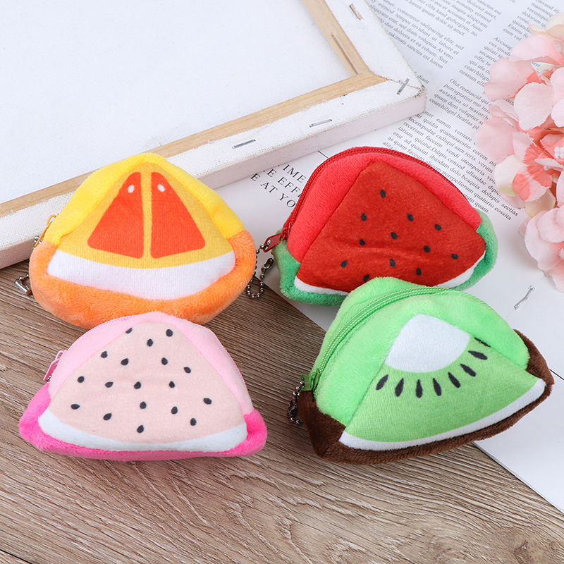 4styles Fruit Girl Fashion Gift Cute Plush Purse For Girls Women Kawaii Plush Wallet Triangle Fruit Plush Cotton Children Pocket(China)