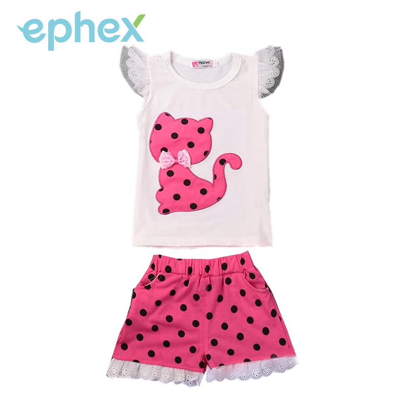 Ephex Fashion Girls Summer Sets Cute Kitten Cotton Shorts + Short Pants Lace Dots O-Neck Butterfly Sleeve Tops Chidren Kids 2PCS