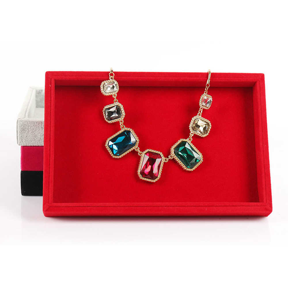 Портативное Ювелирное кольцо с бархатом серьги Вставка Запонки Органайзер коробка деревянный плоский Штабелируемый Лоток Держатель Витрина для хранения
