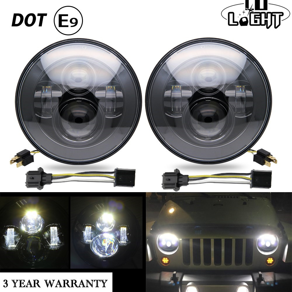 CO LIGHT Car Front Light for Niva Lada 4X4 UAZ Headlight 50W 30W Far Near Light H4 10-30V Dc 7inch Waterproof New Led Headlights