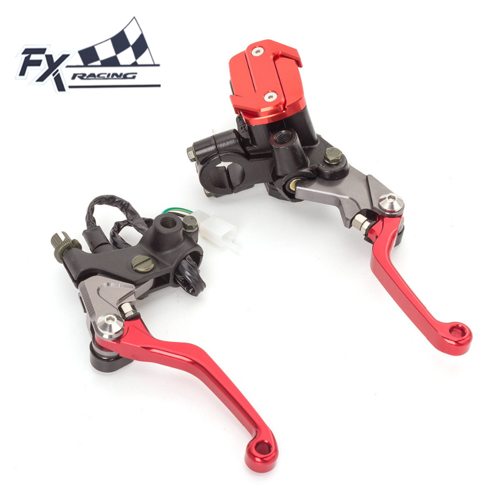 Fx Cnc 7/8 Dirt Pit Bike Motocross Brake Clutch Lever Master Cylinder Reservoir For 50-550CC KTM EXC SX XC XC-W XC-F 65 250 125 universal for kawasaki ninja 250r 1988 2012 cnc motocross off road clutch brake master cylinder reservoir levers dirt pit bike