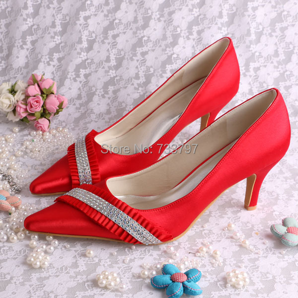 (20 Colors)Custom Handmade Pointy Toe Red Shoes for Weddings Party 7.5CM Heeled Crystal