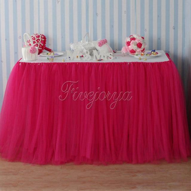 a619a08a3 € 10.01 37% de DESCUENTO|Falda tutú de tul fucsia para la Mesa de la  decoración de la boda tul tutú falda para el hogar textil boda favores ...