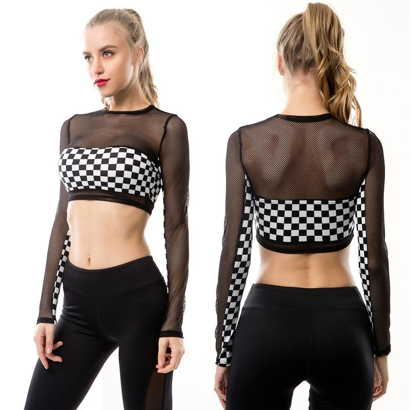 Methodical Women Black&white Plaid Long-sleeved T-shirt Tight-fitting Uncovered Midriff Gauze Piecing Sportswear Tops Running