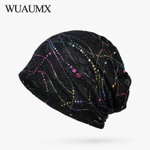 Wuaumx NEW Lace Beanies Hats For Women Sequin Hollow Turban Hats Hip Hop Headwear Hedging Cap Thin and Thick Slouch Caps шапка носок quiksilver cushy slouch m hats bear