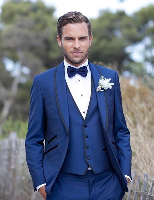 Terno Masculino Custom Made Fashion Blue Men Slim Fit Suits ...