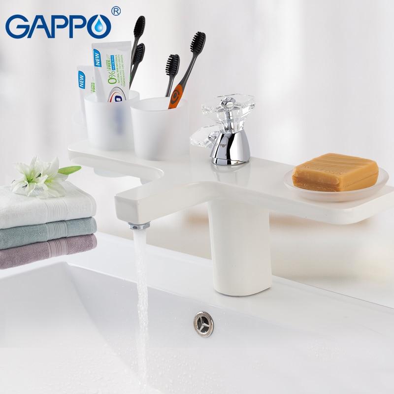 GAPPO blanc Bassin robinet d'eau évier robinet bassin mitigeur en laiton robinet cascade pont mont salle de bain mélangeur