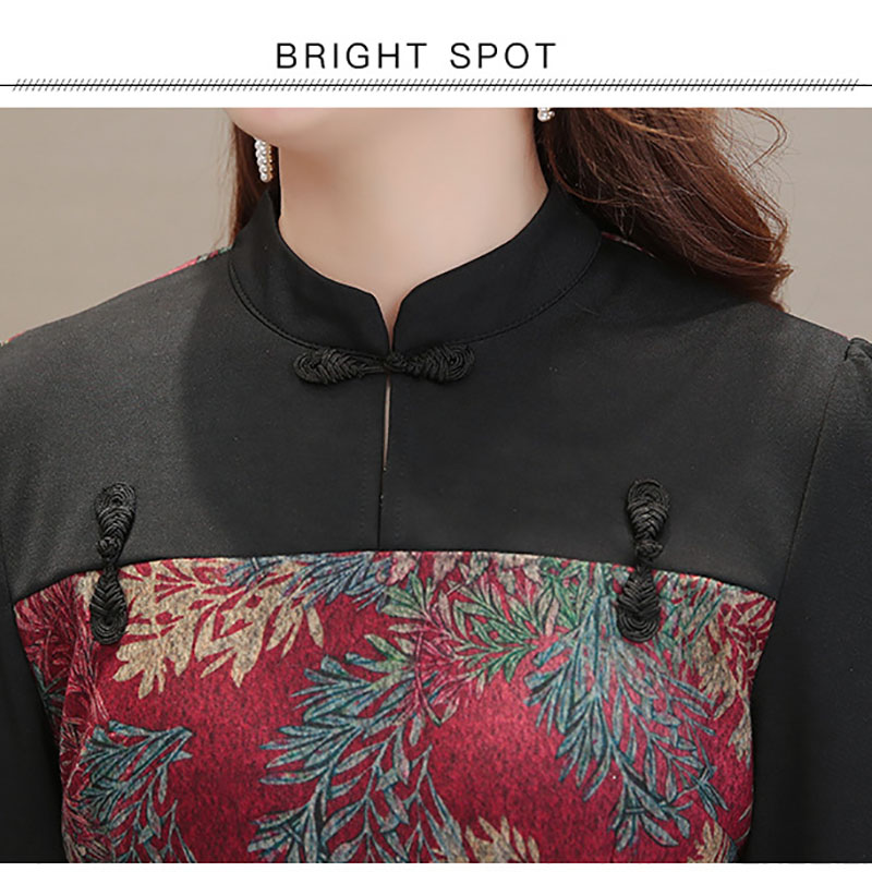 Plus size Chinese style 2019 newest fashion woman mini dresses vintage blue red print flower stand neck female Slim the dress in Dresses from Women 39 s Clothing