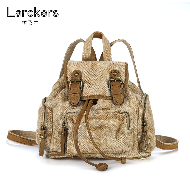 Linen women backpack cowhide leather belts patchworks fashion women soft back bag personality color pattern casual backpacks