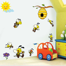 Cute Cartoon Bee 3D Wall Stickers For Kids Rooms Decoration Lovely Honey Bee Viny Wall Art Decals Murals Diy Nursery Home Decor