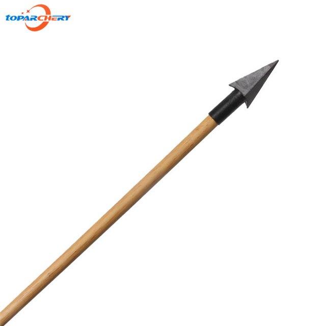 6 pçs setas de madeira tradicional com broadheads aço & artesanal penas reais para arco recurvo longbow caça tiro ao alvo