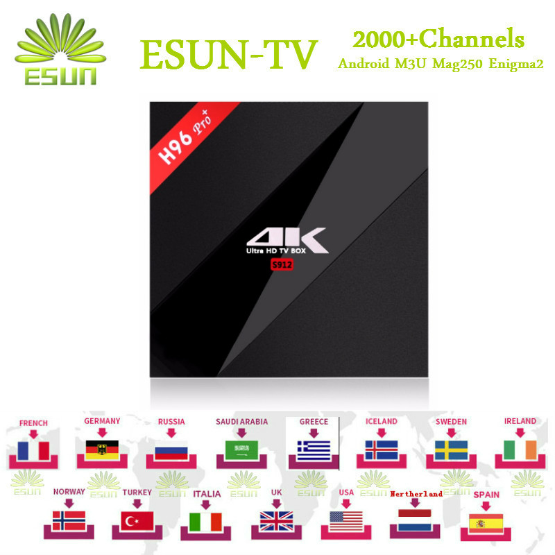 ФОТО 2000+Channel ESUN-TV H96 Pro+ IPTV box S912 3/32GB Arabic Spain UK French Germany  Italy Netherland Sweden Portugal EX-YU xxx US
