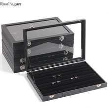 PU Velvet Jewelry Display Box Case for Woman Rings Earrings Bracelets Necklaces Ornaments Storage