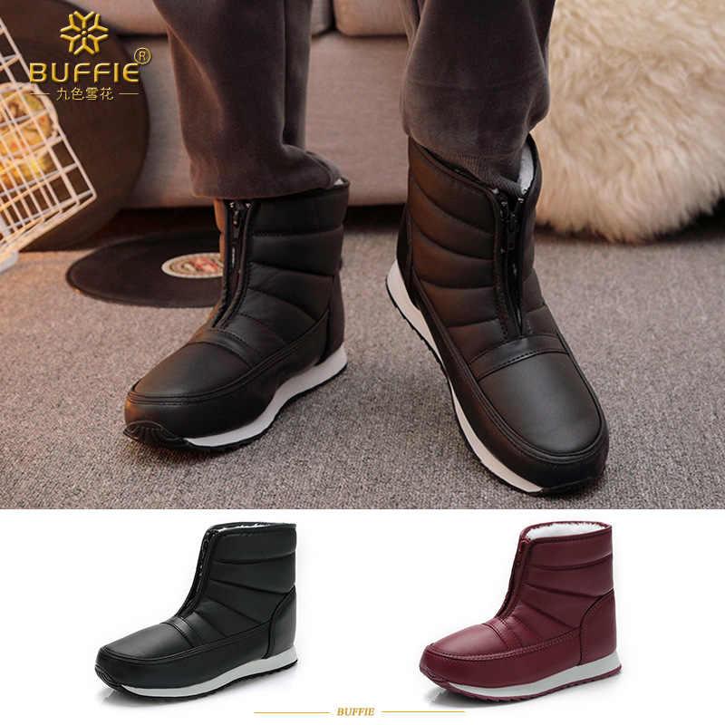 Мужские зимние ботинки, теплая плюшевая зимняя обувь, Нескользящие,  непромокаемые, унисекс, ботильоны 807db489b3b