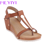 HEYIYI Fashion Bowknot Soft Leather Lady Sandals T Tied Flat Casual Sandals Hot Sale Large Size