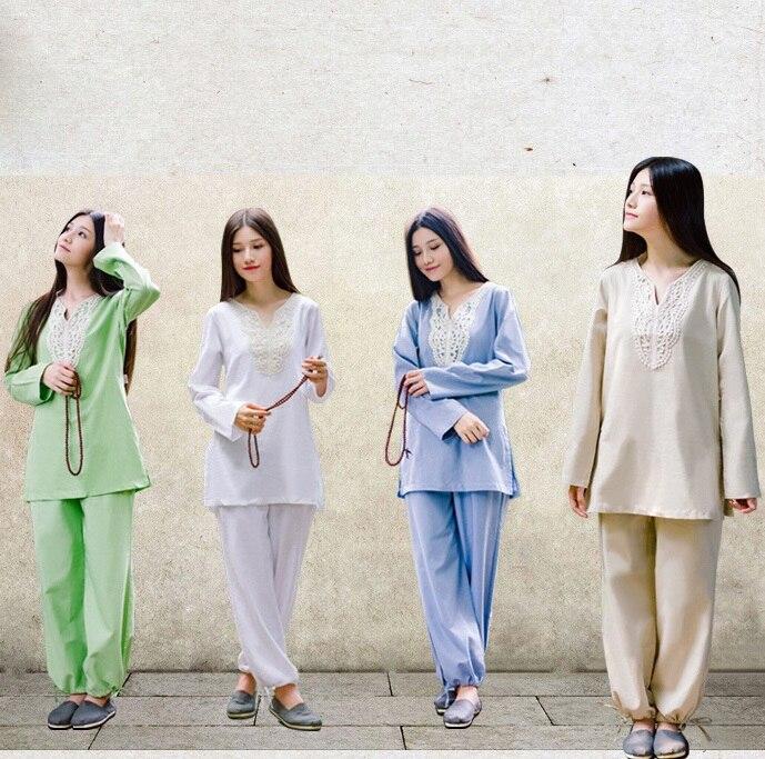 Achat La méditation de femmes Sport Vêtements coton Chanvre Yoga costumes  femmes de Grande taille spécial a7750cde00b