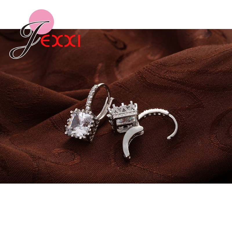 Real   Silver Huggie Lever Back Earrings Luxury Shiny 2 Carat CZ Crystal Cubic Zircon Hot Sale Women Jewelry 3