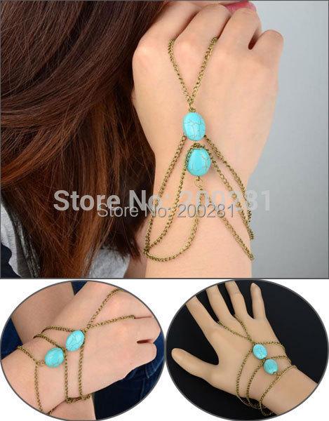 Fashion Stone Finger Bracelet Hand Chain Slave Bracelet Hand Harness Women Silver Chain Slave Bracelet