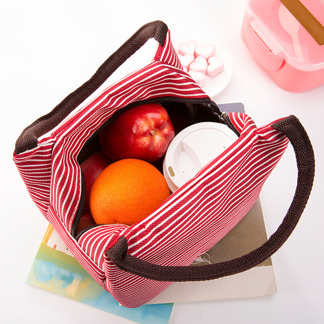 New Women Portable Lunch Bag Canvas Stripe Insulated Cooler Bags Thermal Food Picnic Lunch Bags Kids Lunch Box Bag Tote