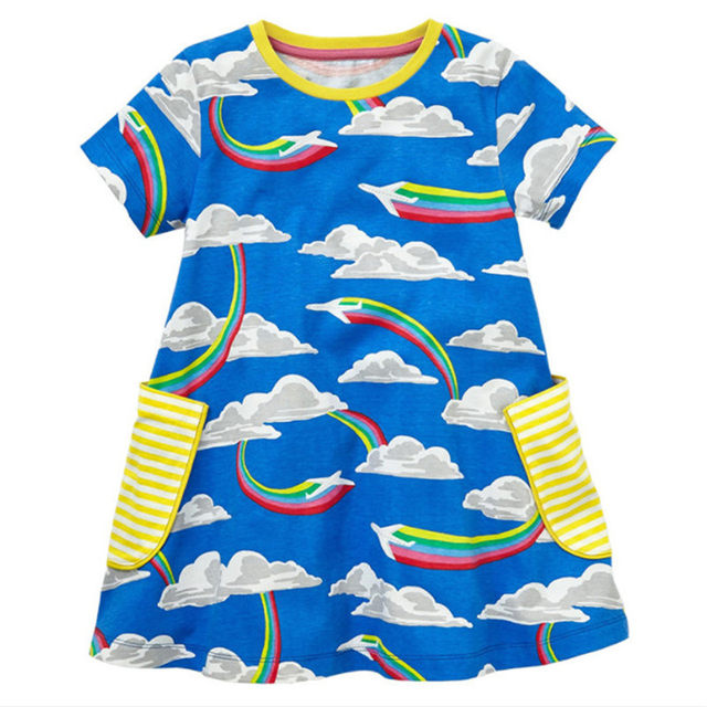 4237c8c89e Online Shop Jumping meters Baby girl dresses Rainbow printed ...