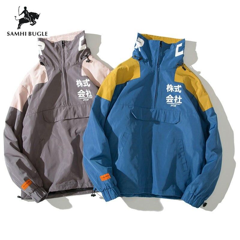 Chaqueta Hip Primavera Hop 2019 Harajuku Bolsillos Azul Streetwear Retro De Japón Multi La Abrigo Vintage gris Casual Rompevientos Hombres 55fwZqRrF