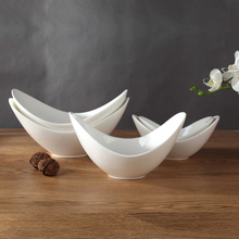 Creative ceramic Fresh Fruit Salad dessert bowl large bowl of Chinese white porcelain bowl Korean restaurant tableware 5 size