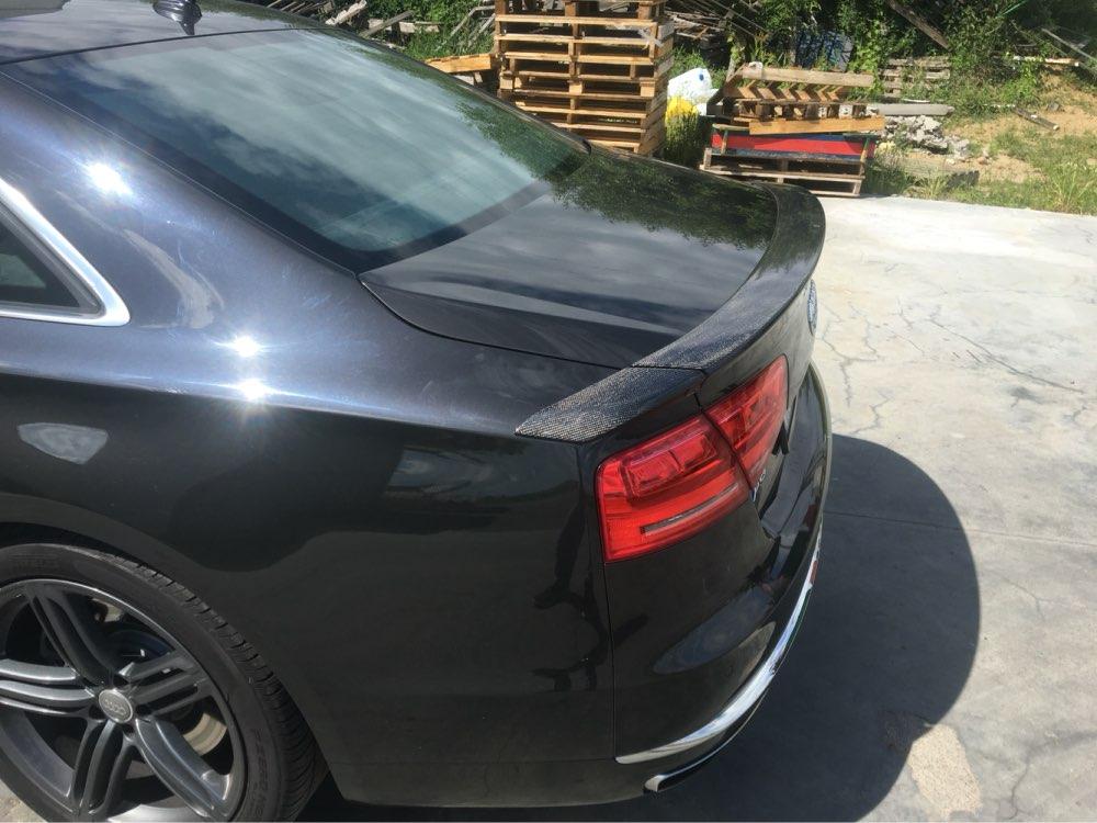A8 ABT Style Voiture De Fiber De Carbone Arrière lip spoiler wing pour Audi A8 2010-2014 3 PCS